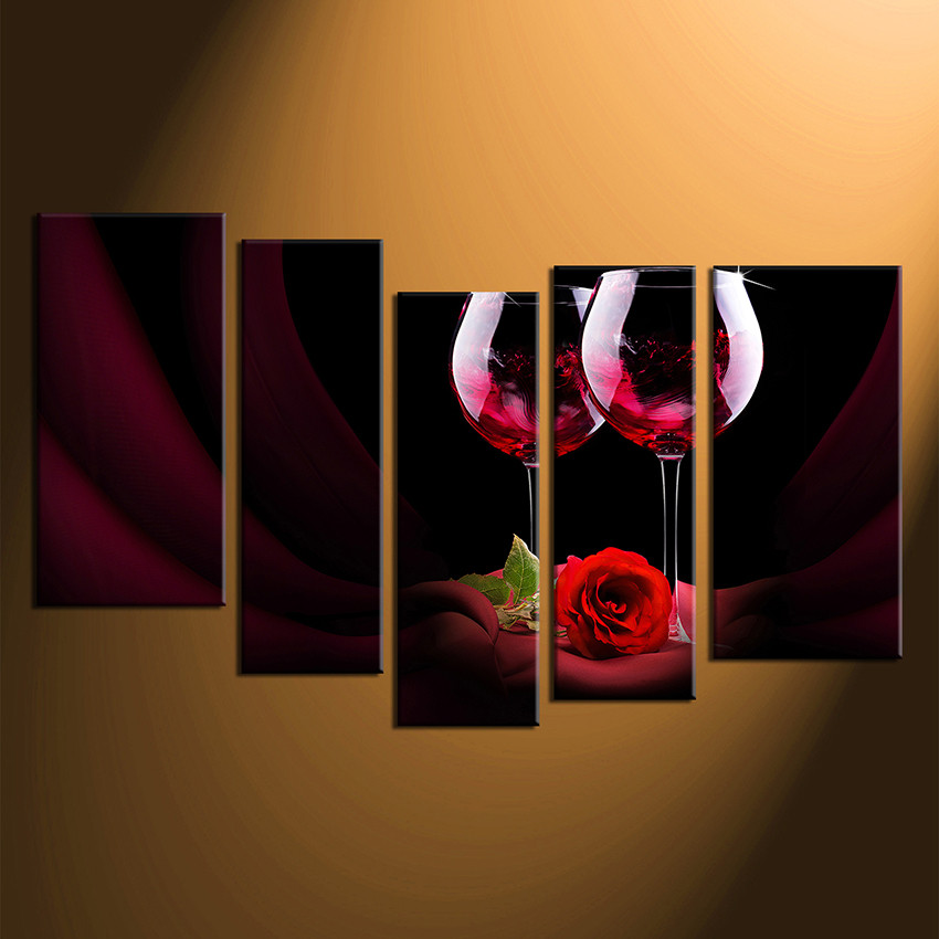 5 Piece Huge Canvas Print, Red Wine Canvas Photography, Wine Multi ...