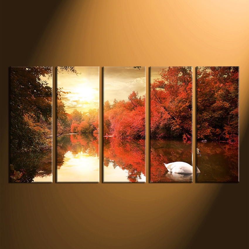 5 Piece Canvas Print, Orange Scenery Canvas Photography, Scenery ...