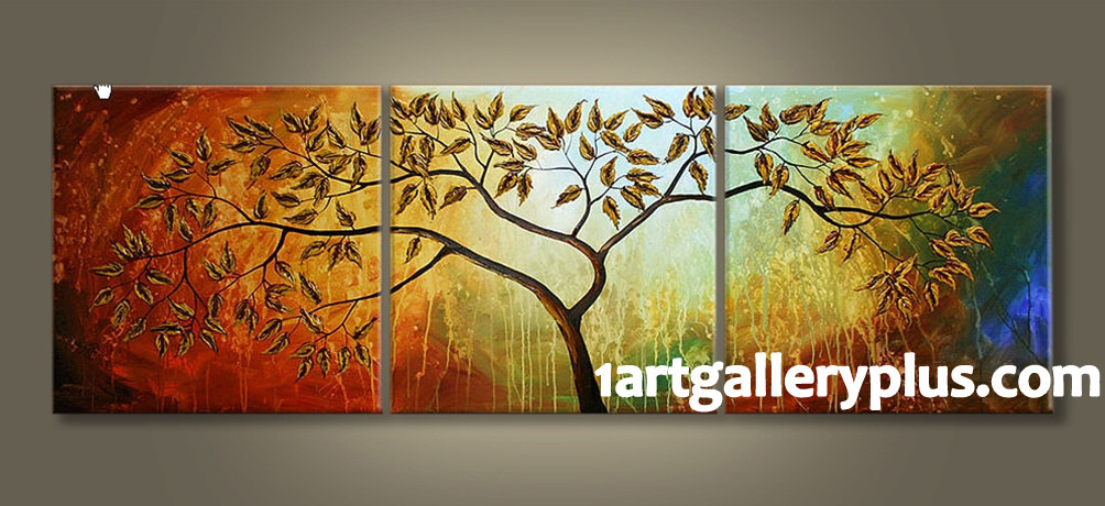 Triptych Scenery Huge Canvas Art, Tree Panoramic Oil Painting large ...