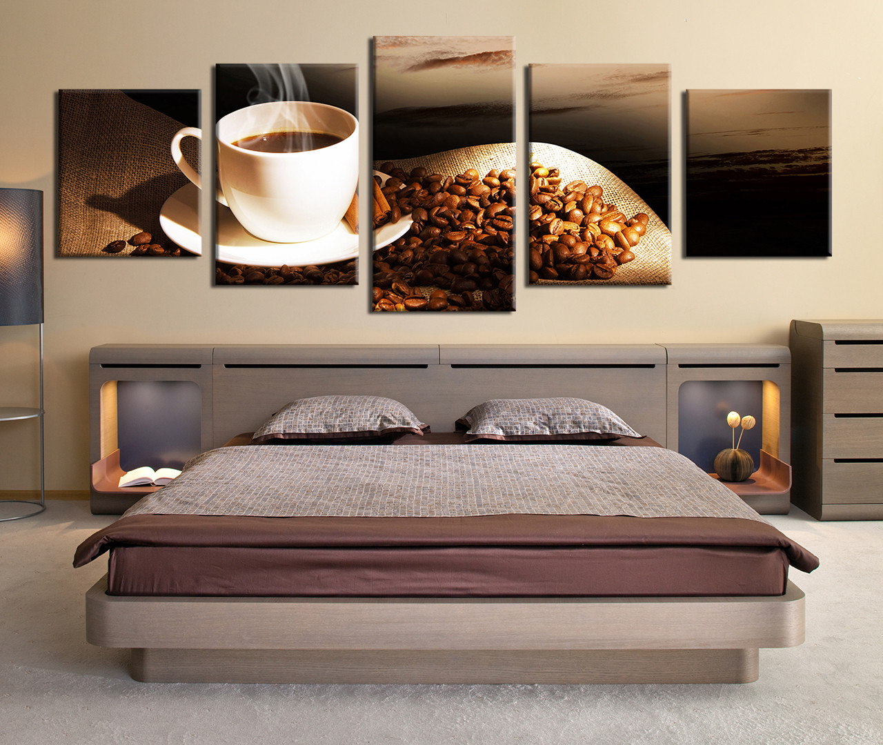 Set Of 3 Coffee Cup Canvas Wraps: 5 Piece Canvas Wall Art, Coffee Multi Panel Art, Coffee