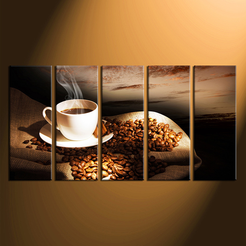 Set Of 3 Coffee Cup Canvas Wraps: 5 Piece Group Canvas, Coffee Bean Huge Canvas Print