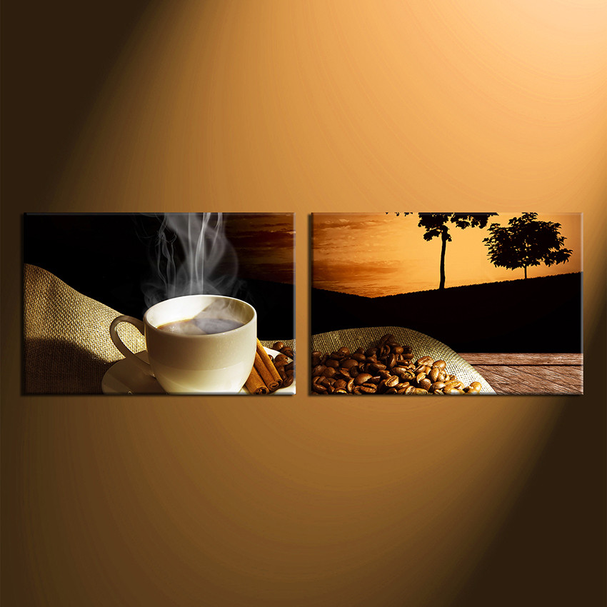 Set Of 3 Coffee Cup Canvas Wraps: 2 Piece Large Canvas, Coffee Bean Huge Pictures, Coffee