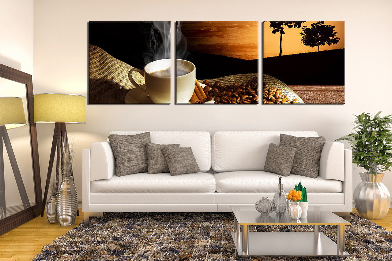 3 Piece Canvas Wall Art, Living Room Art, Coffee Beans Photo Canvas, Kitchen