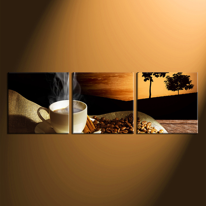 Set Of 3 Coffee Cup Canvas Wraps: 3 Piece Canvas Photography, Coffee Bean Multi Panel Art