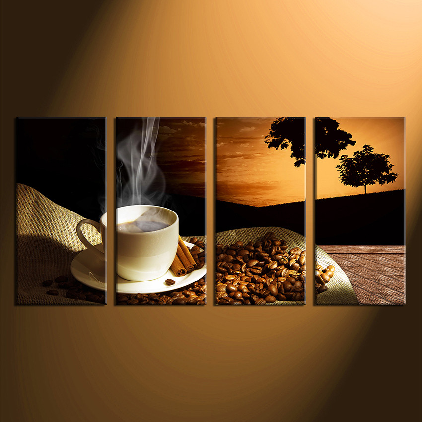 Set Of 3 Coffee Cup Canvas Wraps: 4 Piece Wall Art, Coffee Cup Large Pictures, Coffee Bean