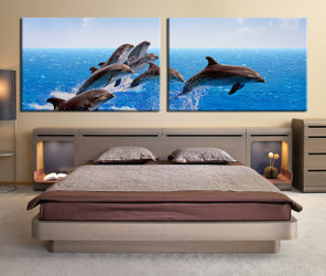 2 Piece Wall Decor, Bedroom Canvas Print, Fish Multi Panel Canvas, Dolphin  Large