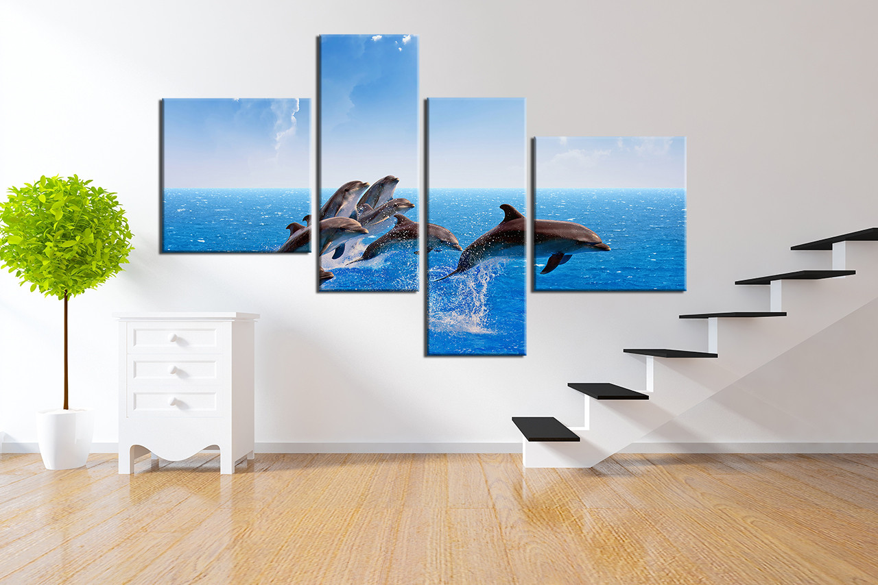 4 piece huge canvas art wildlife wall decor dolphin canvas 4 piece canvas wall art living room canvas print dolphin canvas photography fish amipublicfo Image collections