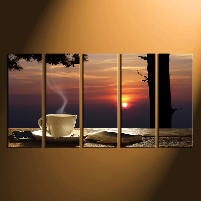 Set Of 3 Coffee Cup Canvas Wraps: 5 Piece Multi Panel Art, Cup Plate Canvas Print, Coffee