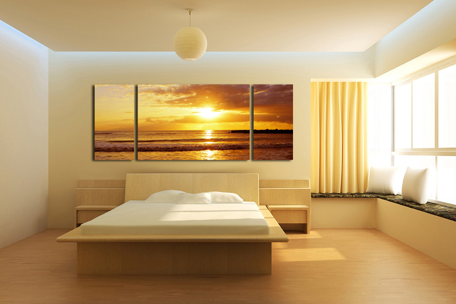 3 Piece Huge Canvas Art, Ocean Sunset Wall Decor, Sea Yellow Large ...