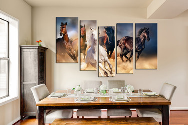 dining room wall decor, 5 piece wall art, wild multi panel art, horse artwork, animal  pictures