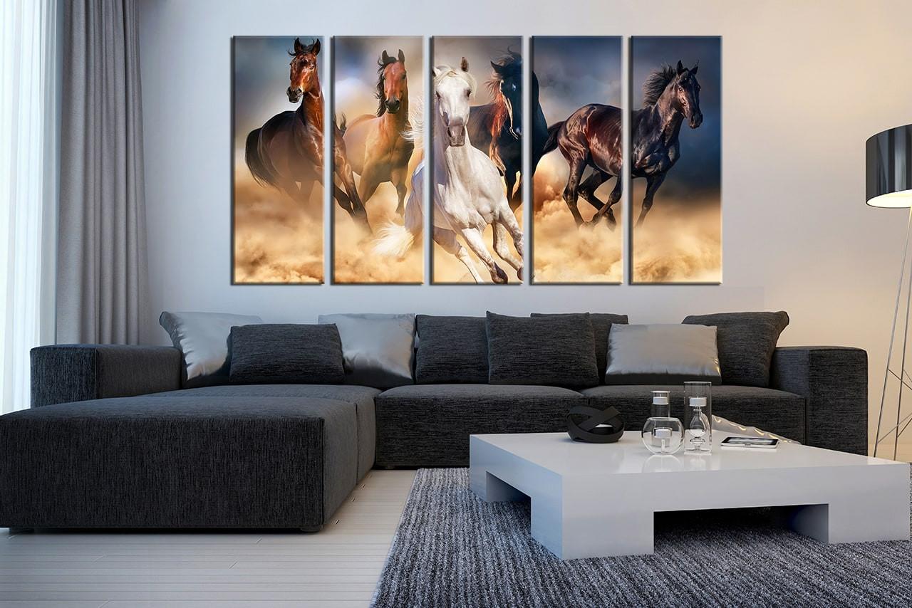 Living Room Wall Art 5 Piece Huge Canvas Horse Multi Panel
