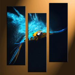 3 piece huge canvas art, home decor, parrot huge pictures, home decor, bird group canvas, wildlife artwork