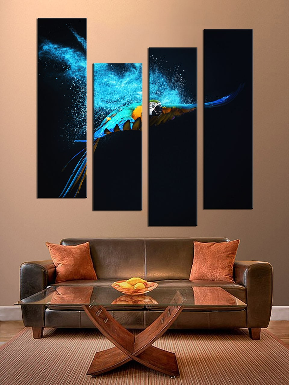 4 Piece Multi Panel Canvas, Blue Parrot Canvas Photography, Parrot ...
