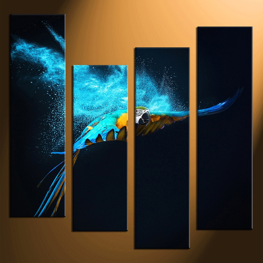 Teal Canvas Wall Art 4 piece multi panel canvas, blue parrot canvas photography, parrot
