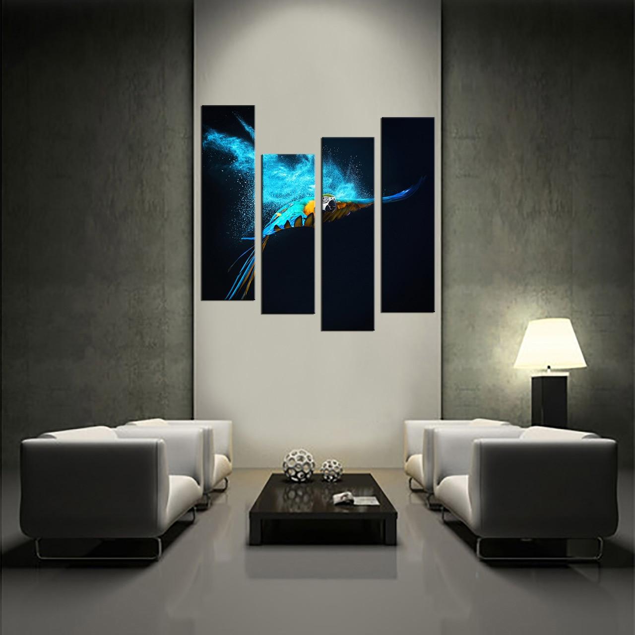 Multi Panel Canvas Wall Art 4 piece multi panel canvas, blue parrot canvas photography, parrot