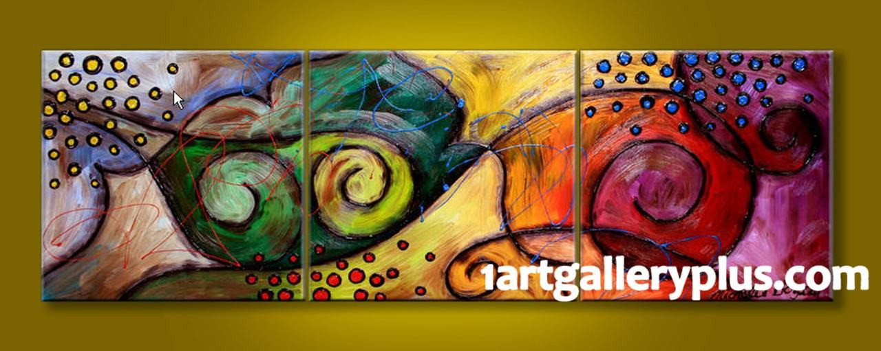 3 Piece Large Canvas, Panoramic Decor, Colorful Artwork, Abstract ...