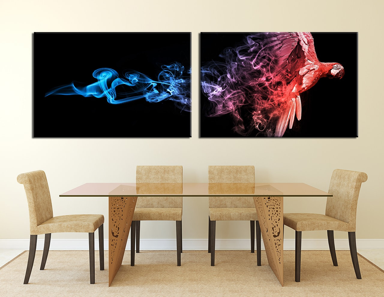 Dining Room Wall Decor, 2 Piece Wall Art, Parrot Multi Panel Art, Forest