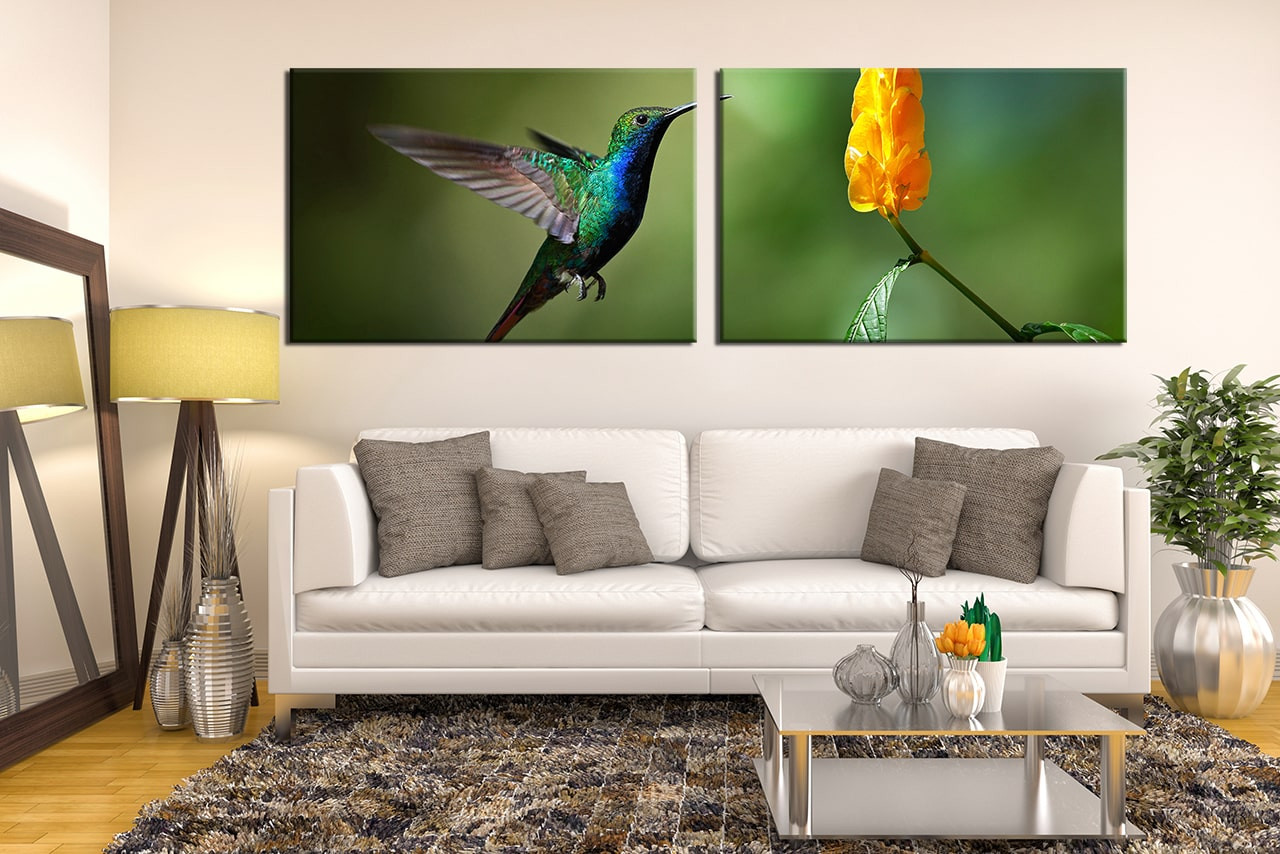 2 Piece Canvas Wall Art 2 piece canvas wall art, hummingbird canvas photography, green