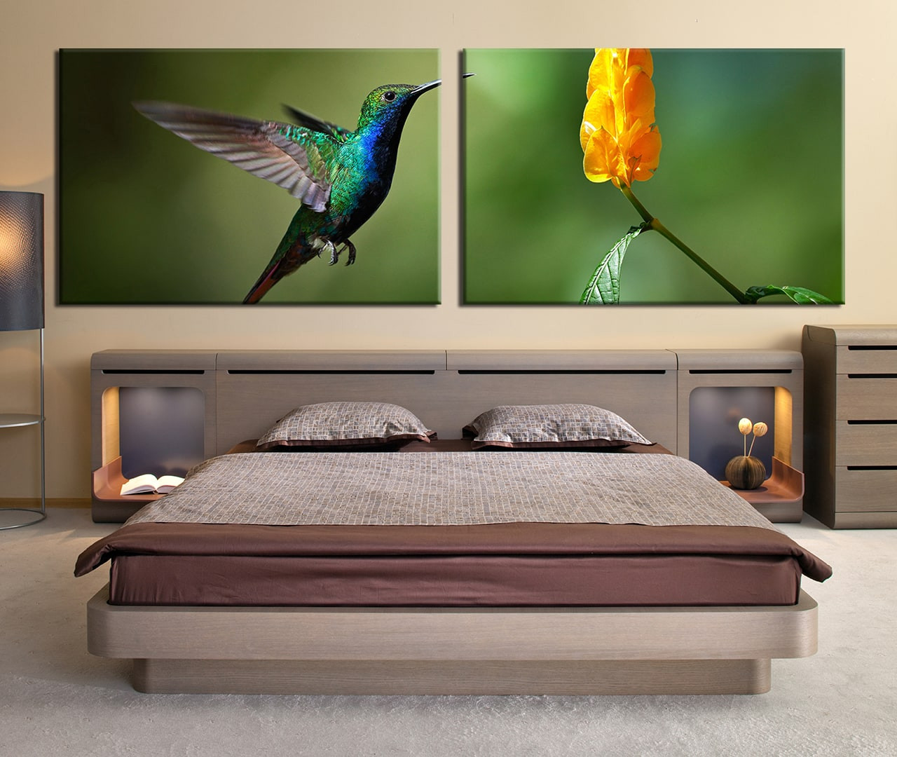 2 Piece Wall Decor, Green Large Pictures, Green Wildlife Huge Canvas Art,  Hummingbird Part 84