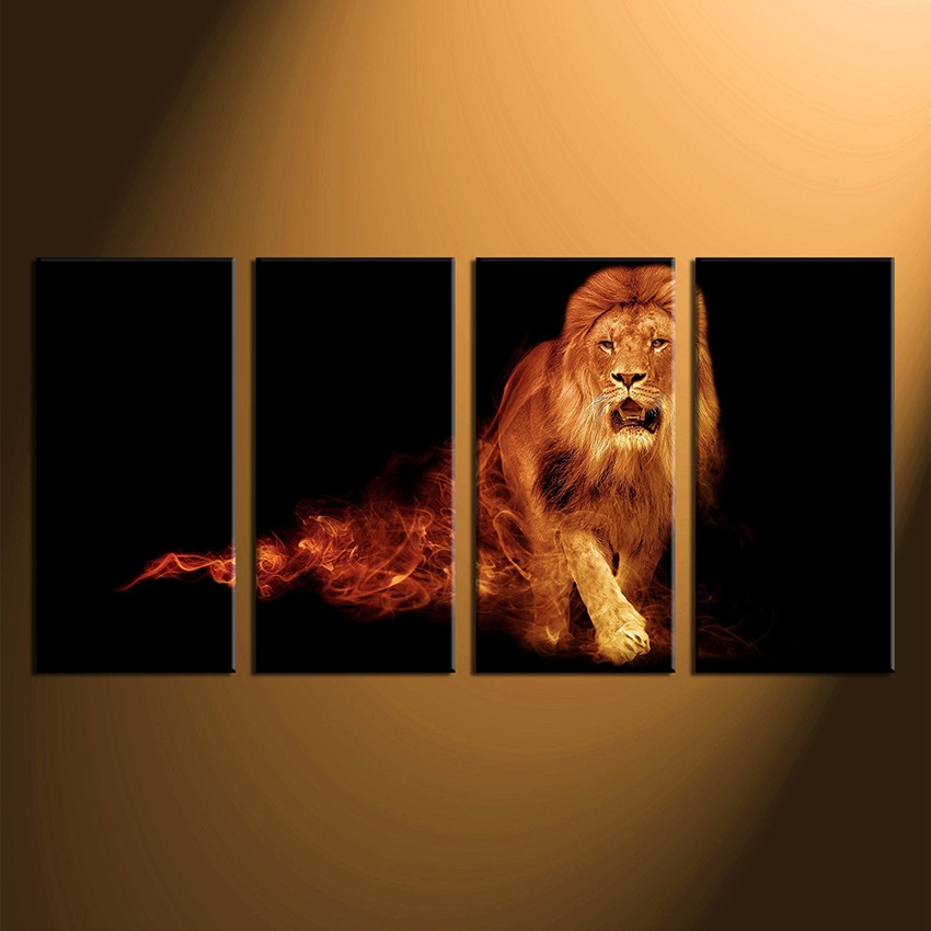 Marvelous Home Decor, 4 Piece Canvas Art Prints, Wildlife Canvas Print, Lion Canvas  Photography