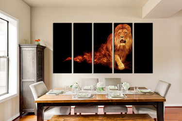 5 piece large pictures, dining room wall decor, animal group canvas, wildlife artwork, wildlife wall art