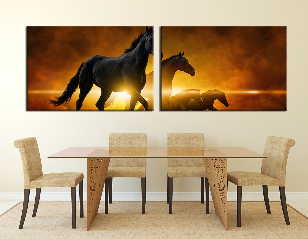 2 piece wall decor black horse large pictures wildlife canvas dining room wall decor 2 piece wall art animal multi panel art horse amipublicfo Image collections