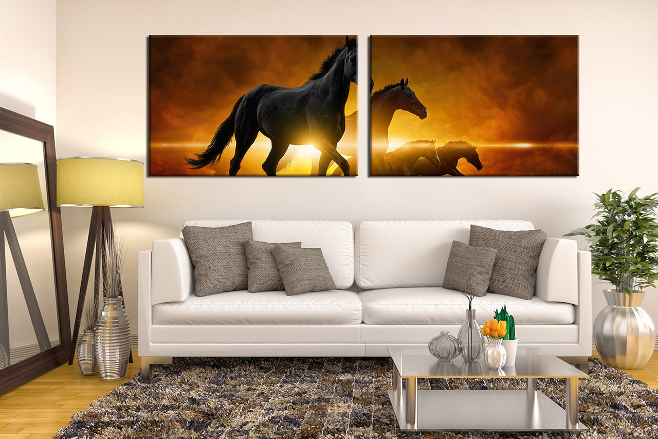2 Piece Wall Decor, Black Horse Large Pictures, Wildlife Canvas ...