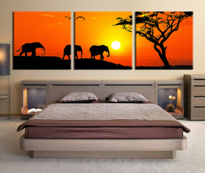 bedroom decor, 3 piece wall art, elephant large pictures, wildlife panoramic art, animal large pictures