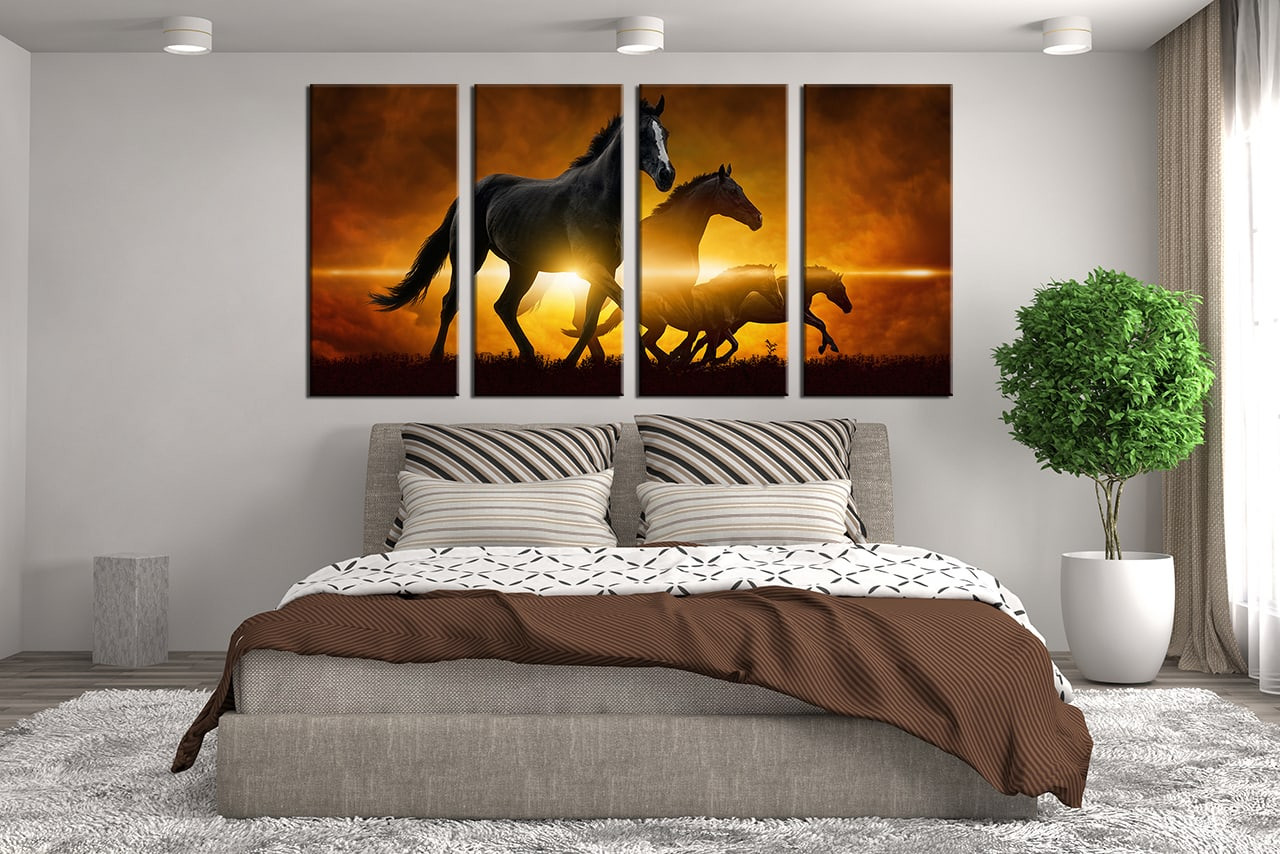 4 piece canvas photography black horse wall decor animal multi panel art wildlife multi panel - Wall decor photography ...