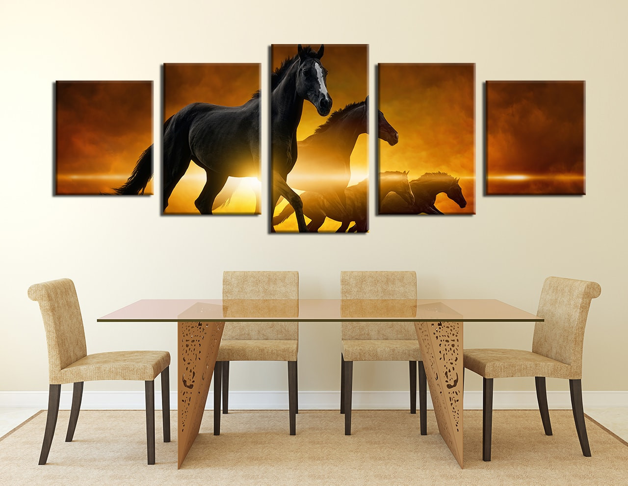 5 piece huge canvas print yellow artwork black horse multi panel dining room wall decor 5 piece wall art wild multi panel art horse amipublicfo Image collections