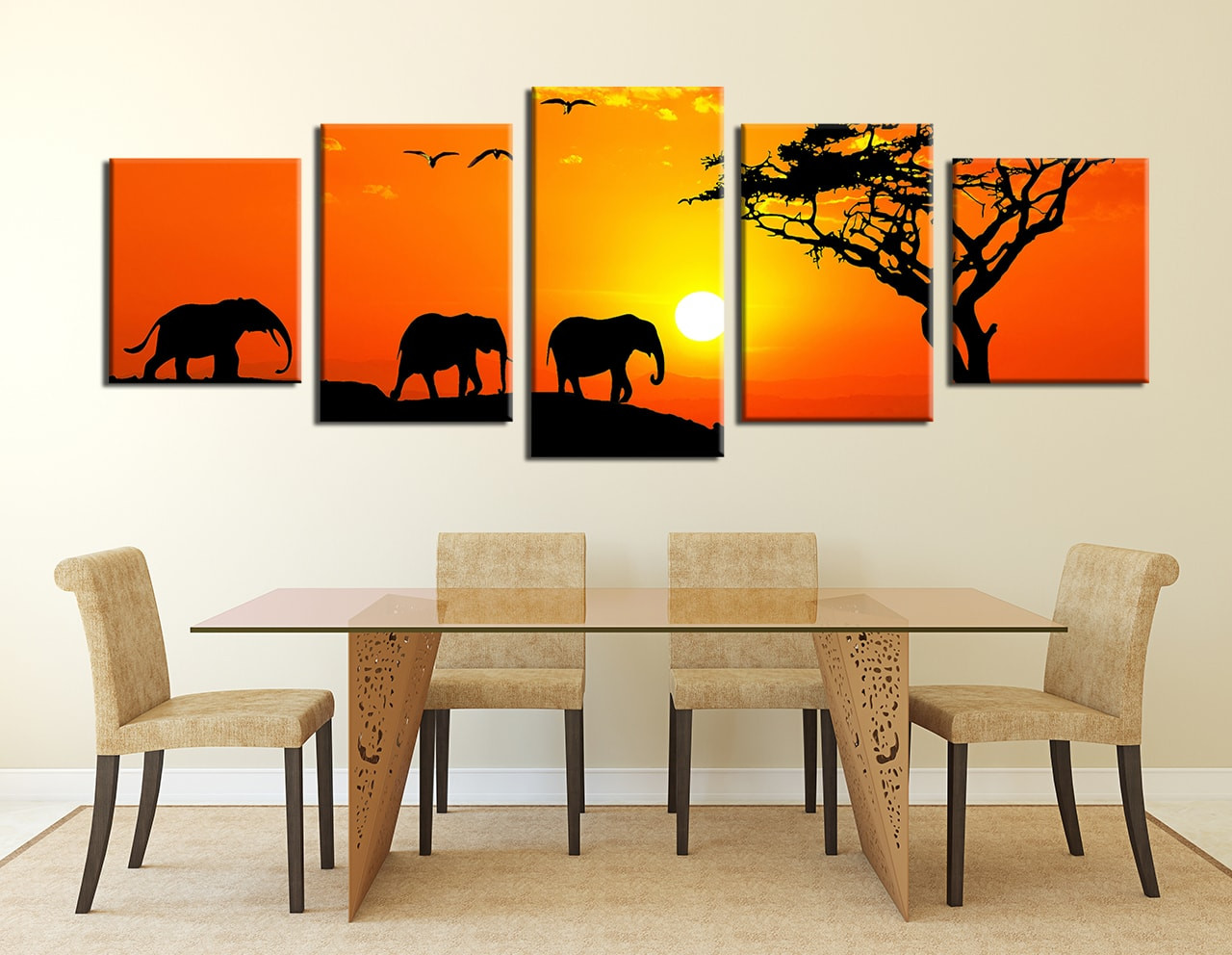 Dining Room Art 5 Piece Canvas Prints Wildlife Wall Elephant Artwork