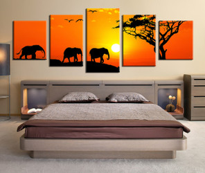 bedroom decor, 5 Piece wall art, elephant large pictures, panoramic art, animal canvas art prints