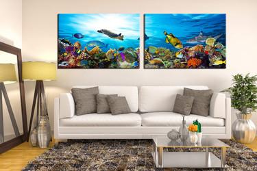 living room art, 2 piece canvas wall art, wildlife multi panel canvas, wildlife wall art, fish large pictures