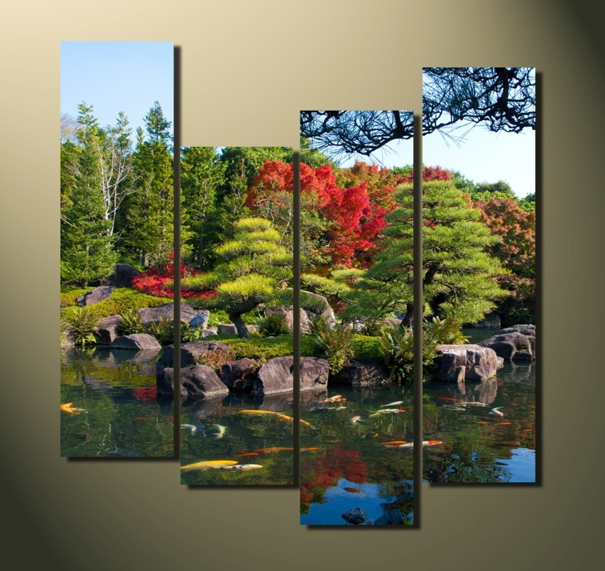 4 piece canvas photography scenery large pictures nature for Green wall art