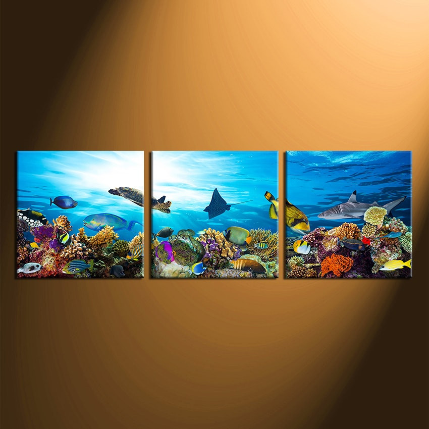 3 Piece Canvas Wall Art, Fish Large Pictures, Turtle Multi Panel ...