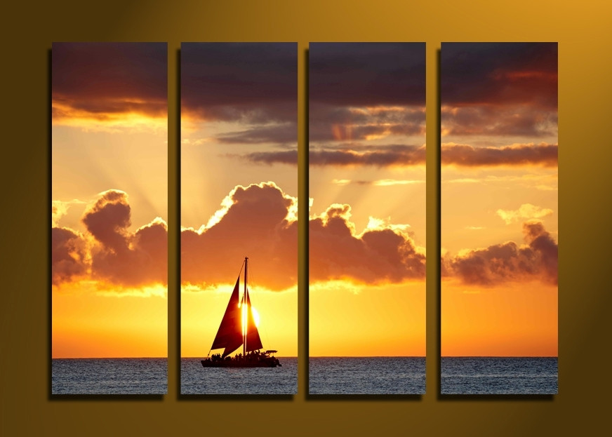 4 Piece Group Canvas, Ocean Sunset Wall Art, Sailboat Yellow Huge ...