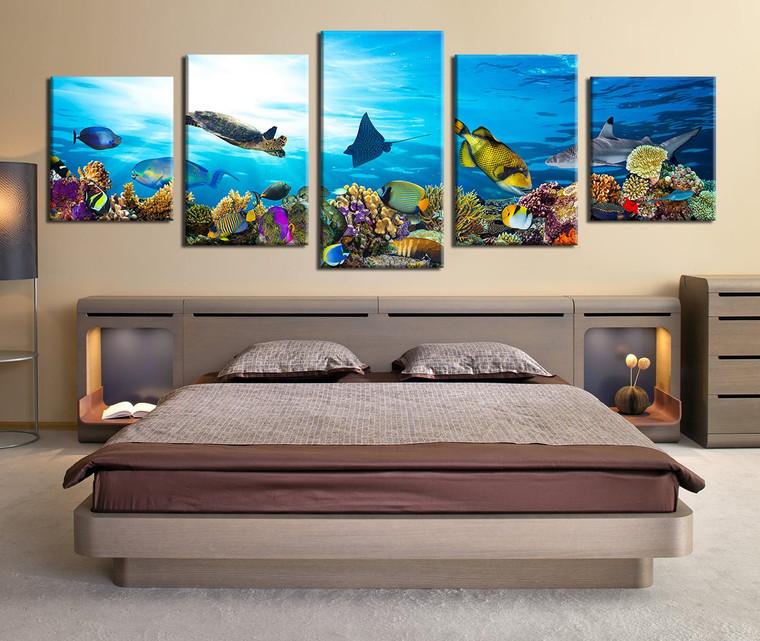 5 piece group canvas fish multi panel art turtle wall. Black Bedroom Furniture Sets. Home Design Ideas