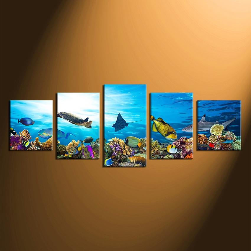 5 piece huge canvas print home decor fish wall art wildlife photo canvas