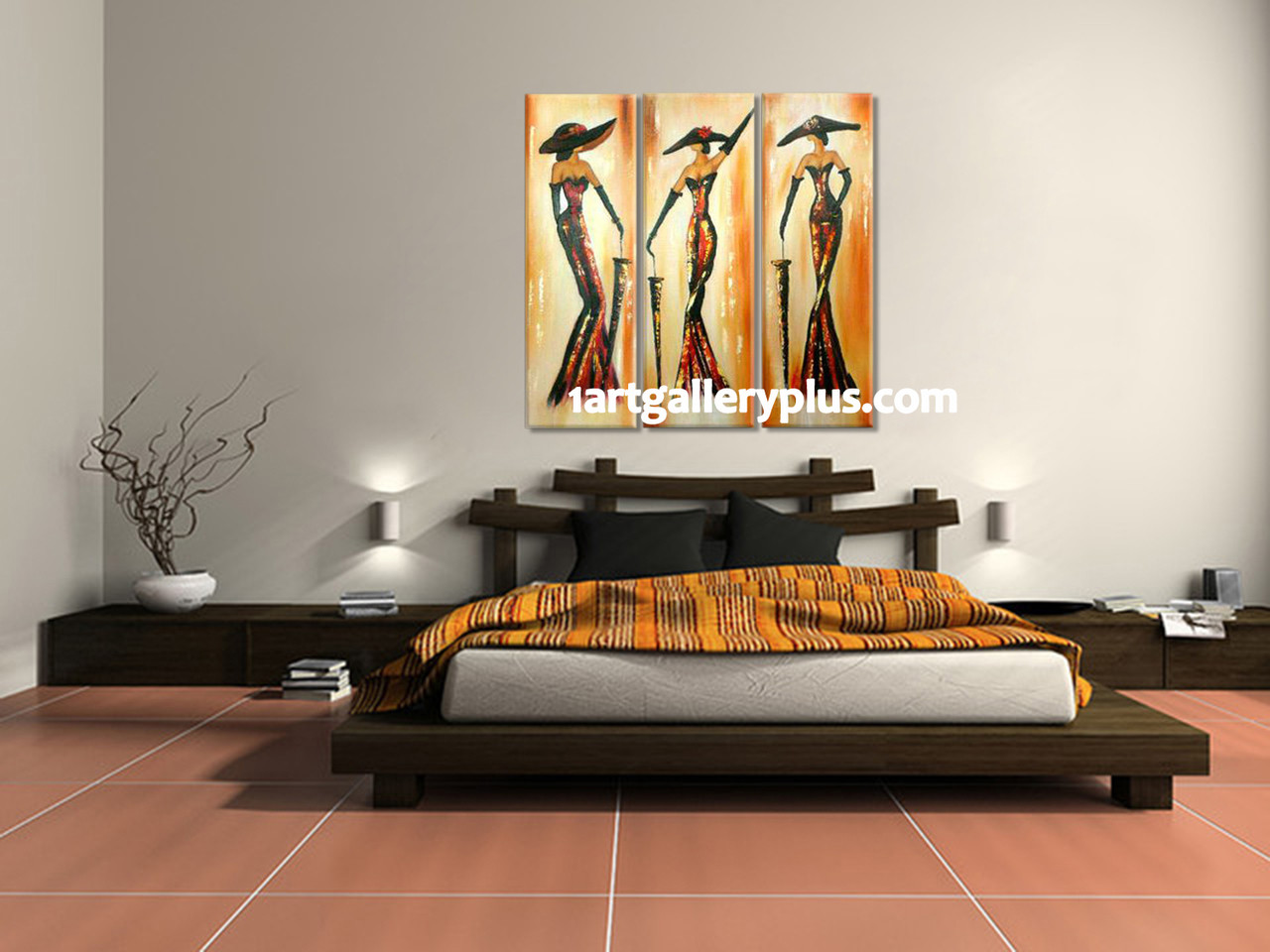 3 Piece Huge Pictures, Yellow Abstract Canvas Wall Art