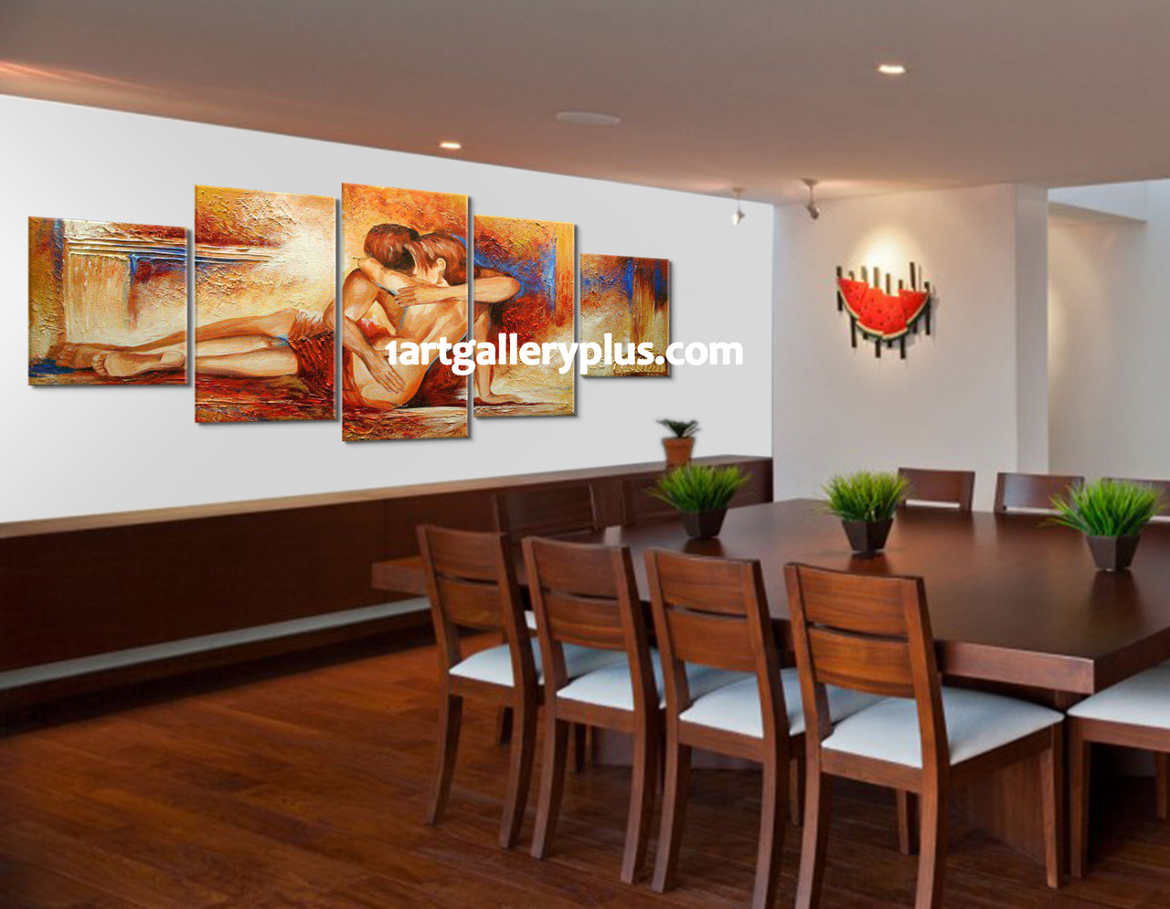 5 Piece Huge Pictures, Dining Room Art, Orange Multi Panel Canvas, Abstract  Wall Part 98