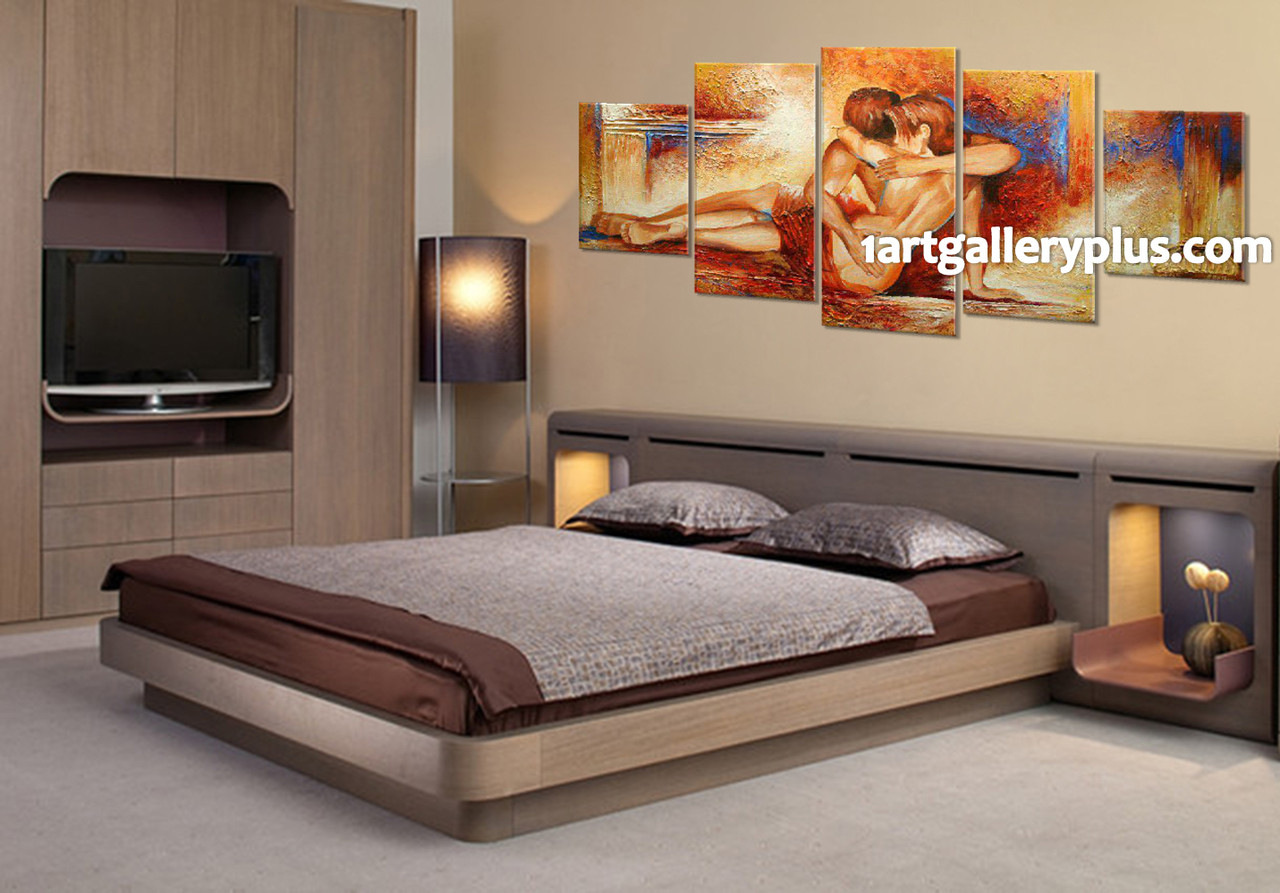 5 Piece Huge Canvas Print, Bedroom Canvas Wall Art, Orange Large Pictures,  Abstract