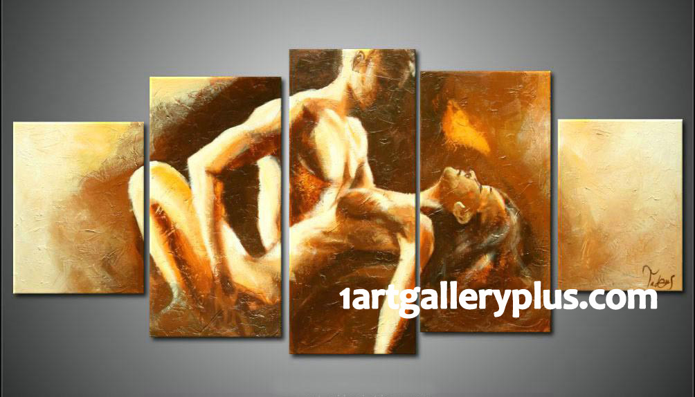 5 Piece Wall Decor, Abstract Large Pictures, Sensual Yellow Oil ...