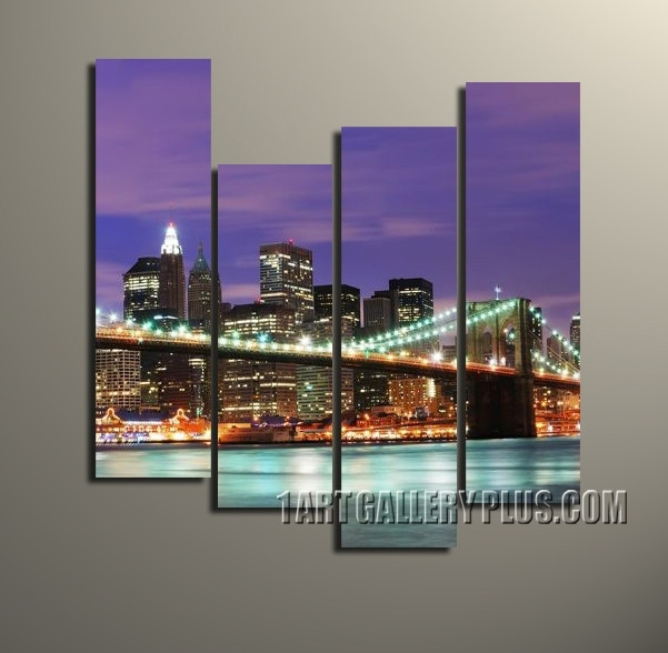 4 Piece Brooklyn Bridge Huge Pictures, Cityscapes Wall Decor, New ...