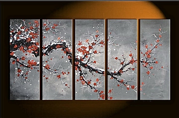 5 piece gray wall art floral large pictures oil painting photo