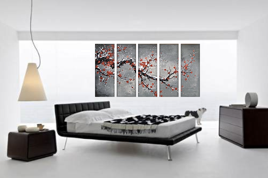 5 Piece Gray Wall Art, Floral Large Pictures, Oil Painting Photo ...