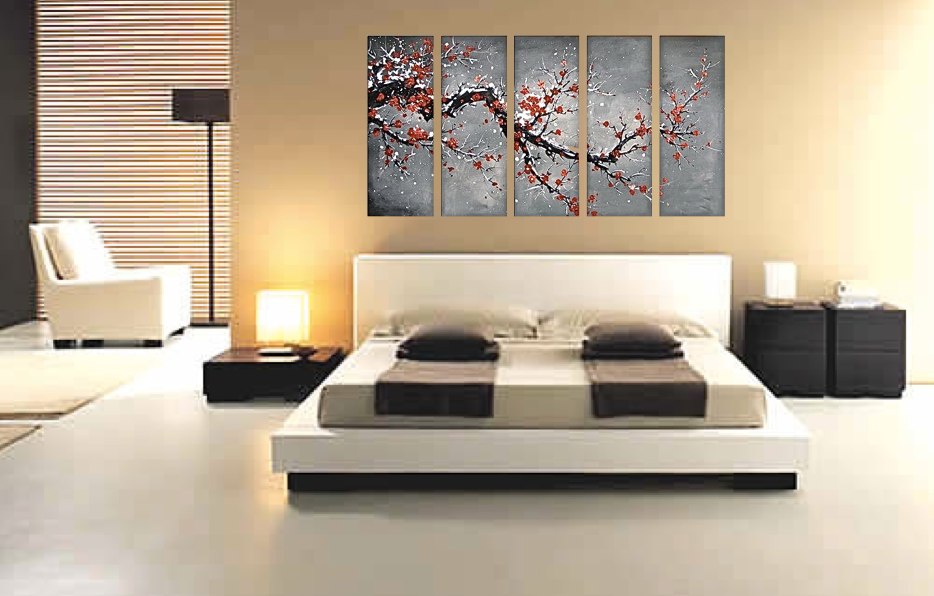 5 Piece Multi Panel Canvas, Bed Room Canvas Photography, Floral Wall Art,  Oil