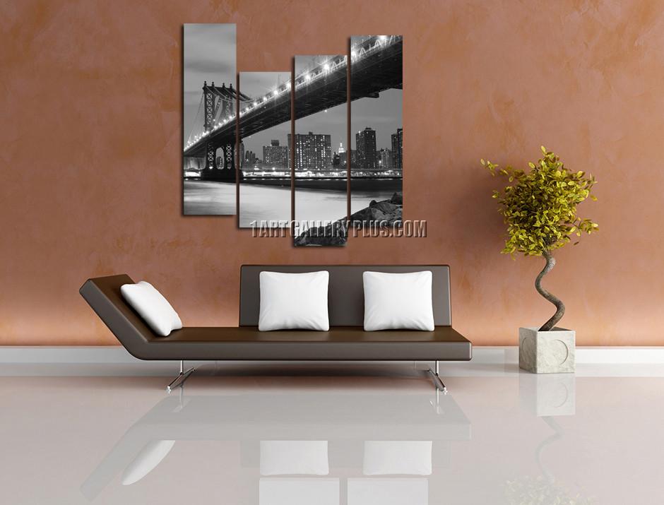 living room with bridge 4 piece wall art brooklyn bridge large pictures grey city multi