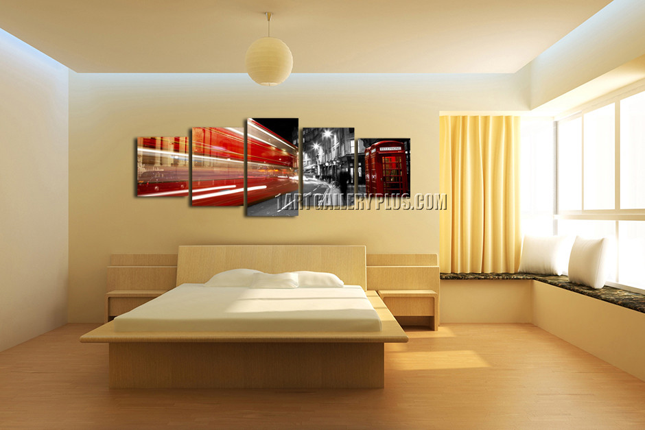 5 Piece Wall Art, Red Grey City Huge Pictures, Telephone Booth ...