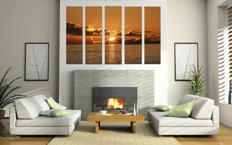 5 Piece Multi Panel Art, Ocean Canvas Wall Art, Living Room Canvas  Photography,