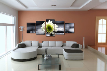 5 piece huge canvas art, living room art, flowers canvas print, white multi panel canvas, panoramic canvas photography